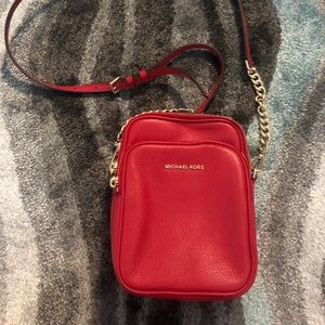 Michael Kors Red Leather Camera Crossbody Bag